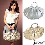 【justlove】金銀雙色名牌風俏麗時尚派對晚宴獨家手提半月水餃包 PG-8335