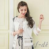 【ef-de】GO獨有 橫紋下襬肩網紗拼接長袖罩衫外套(純白)
