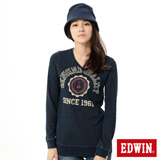 EDWIN 江戶勝V領長袖T恤-女-丈青色
