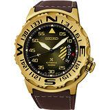 SEIKO PROSPEX 開創者時尚機械腕錶-金框x咖啡/45mm 4R35-00G0G(SRP580J1)