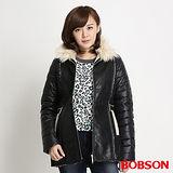 BOBSON 女款麂皮貼合毛絨外套(黑34113-88)