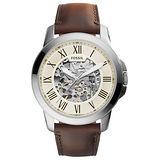 FOSSIL 流逝歲月經典機械錶-銀框米色x褐色皮帶