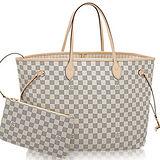 Louis Vuitton LV N41360 NEVERFULL GM 白棋盤格紋子母束口購物包.大 預購