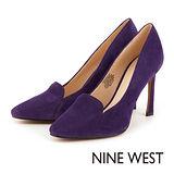 NINE WEST--尖頭絨面高跟鞋--迷人紫