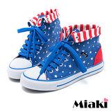【Miaki】MIT 帆布鞋俏麗必敗平底包鞋休閒鞋 (藍色)
