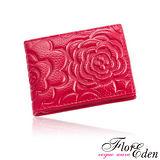 DF Flor Eden皮夾 - 玫瑰情意立體壓紋真皮款短夾-玫紅