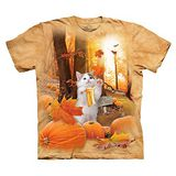 【摩達客】(預購) 美國進口The Mountain 南瓜秋之貓 純棉環保短袖T恤