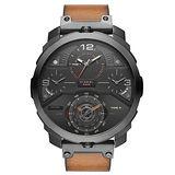 DIESEL 狄法克四時區競速時尚男錶-深灰x咖啡錶帶