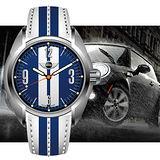 MINI Swiss Watches 愛情海 LOGO時間數字石英藍白雙色皮帶腕錶-38mm/MINI-83