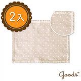 【goods+】簡約和風 蕾絲圓點麻布餐具墊/桌墊/隔熱墊(2入) CM09(大)
