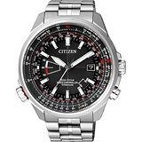 CITIZEN 鈦光動能電波腕錶-黑/45mm CB0141-55E