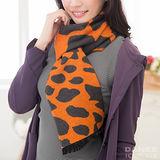 岱妮蠶絲 - 純蠶絲保暖刷毛圍巾(雅法澄)