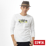 EDWIN 網路限定 幾何LOGO長袖薄T恤-男-白色