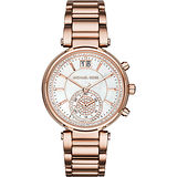 Michael Kors Sawyer 宮廷晶鑽計時腕錶-珍珠貝x玫瑰金/39mm MK6282