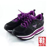 (女) JUMP 厚底復古慢跑鞋 黑紫 將門 鞋全家福