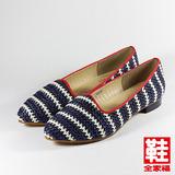 (女) CLASSIQUE GRECO 編織低跟淑女鞋 藍紋 鞋全家福