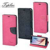Topbao 時尚雙色輕盈側立磁扣插卡TPU保護皮套 Samsung Galaxy S6