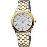 LONGINES Flagship 經典純粹機械腕錶-白x雙色版/35.6mm L47743217