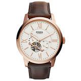 FOSSIL 日月傳承機械腕錶-玫瑰金框白x咖啡皮帶