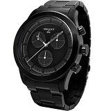 elegantsis Clasic Fashion 城市玩家計時腕錶-黑/44mm ELJT34-JB01MA