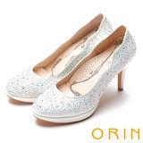 ORIN 晚宴婚嫁首選 波浪線條不規則閃亮水鑽高跟鞋-白色