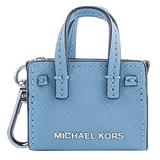 MICHAEL KORS 迷你防刮皮革托特包吊飾-天空藍