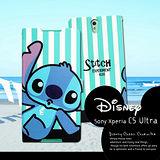 迪士尼授權正版 Sony Xperia C5 Ultra 大大機 E5553 潮流條紋磁力皮套(嘟嘴史迪奇)