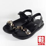 (女) Danbili 金屬扣飾黏帶涼鞋 黑 鞋全家福