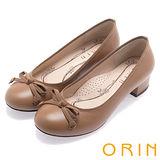 ORIN 典雅輕熟OL 嚴選牛皮蝴蝶結點綴粗跟鞋-棕色