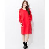 Wonderland 視覺寬版連袖洋裝(紅)