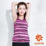 SUNYA 條紋長版運動背心-粉(S~XL)