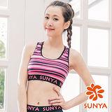 SUNYA 條紋短版運動背心-粉(S~XL)