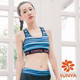 SUNYA 條紋短版運動背心-藍(S~XL)