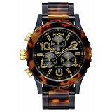 NIXON 38-20 CHRONO 石楠琥珀運動腕錶-黑X玳瑁