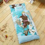 HO KANG 迪士尼授權 冬夏鋪棉兩用兒童睡袋-經典冰雪藍