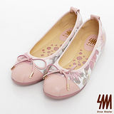 SM-全真皮-蝴蝶結網狀花朵娃娃鞋-粉紅