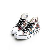 CONVERSE (女)帆布鞋(高統)-白-150268C