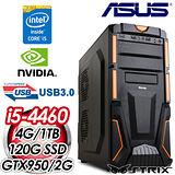 華碩B85平台【聖教騎士團】Intel i5-4460四核 STRIX GTX950-2G獨顯 SSD+1TB效能電腦