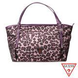 GUESS 時尚精品優雅高質感搭配豹紋防潑水大空間 手提/側背托特包款-豹紋紫紅U6087421-24