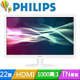 PHILIPS 223V5LHSW (白) 22型雙介面液晶螢幕