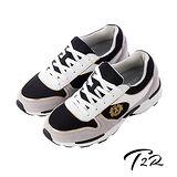 【韓國T2R】雙彈動力氣墊大底名牌款內增高休閒鞋 ↑6cm 黑灰色(5600-0168)
