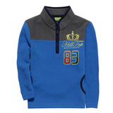 【hilltop山頂鳥】兒童款ZISOFIT保暖刷毛半開襟拉鍊上衣H51C84-藍