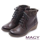 MAGY 街頭率性簡約 雙色感牛皮綁帶楔型短靴-咖啡