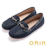 ORIN 樂活主義 金屬釦飾復古帆船鞋-藍色