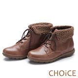 CHOiCE 舒適暖呼呼必備款 真皮兩穿反領捲毛綁帶踝靴-可可