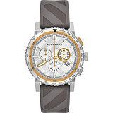 BURBERRY 英倫城市時尚運動計時腕錶-銀x灰/43mm BU9811