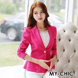 【預購MY-CHIC】韓系 簡雅俐落甜美荷葉腰擺單釦西裝外套(3色)