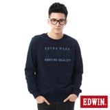 EDWIN 剪接LOGO長袖T恤-男-丈青色