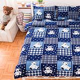(任)Missya【藍色熊熊】雙人四件式搖粒絨被套床包組