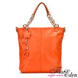 DF FlorEden - 紐約魅力吊飾真皮款手提式3用包-愛瑪橘